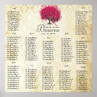 Pinkfarbene Gäste des Herz-Baums 100 bis 150 Poster