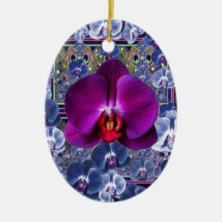 Pinkfarbene Orchideen-Bler-Graue himmlische Keramik Ornament