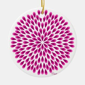 Pinkfarbene Pfau-Mandala Keramik Ornament