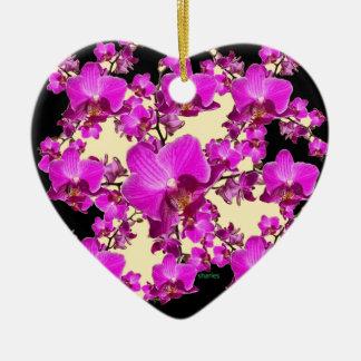 Pinkfarbene rosa Orchideen-Creme u. schwarze Keramik Ornament