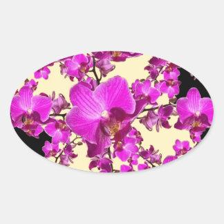 Pinkfarbene rosa Orchideen-Creme u. schwarze Ovaler Aufkleber