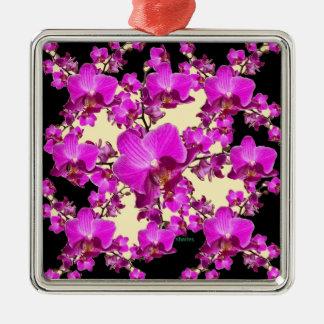 Pinkfarbene rosa Orchideen-Creme u. schwarze Silbernes Ornament
