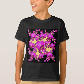 Pinkfarbene rosa Orchideen-Creme u. schwarze T-Shirt