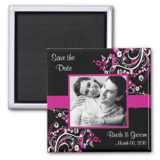 Pinkfarbene und schwarze Save the Date Quadratischer Magnet