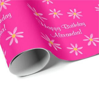 Pinkfarbener Blumengeburtstag 4Alexandra (Name) Geschenkpapier
