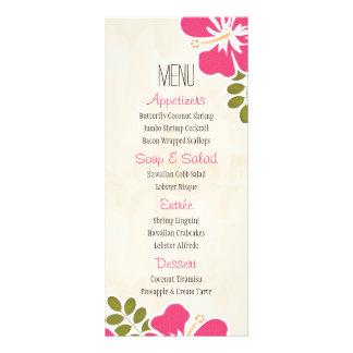 Pinkfarbener Hibiskus-hawaiische Menü-Karten Individuelle Werbe Karte
