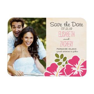 Pinkfarbener Hibiskus-tropische Save the Date Flexibler Magnet