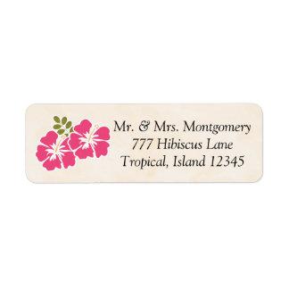 Pinkfarbener Hibiskus-tropischer Themed Hawaiianer Kleiner Adressaufkleber