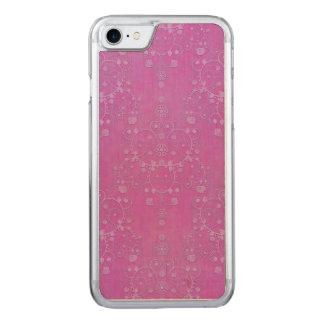 Pinkfarbener lila Damast-verwickeltes Blumenmuster Carved iPhone 8/7 Hülle