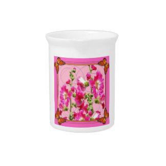 Pinkfarbener rosa Monarchfalter mit Blumen Getränke Pitcher