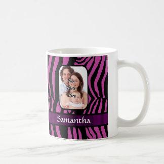 Pinkfarbener und schwarzer Zebradruck Kaffeetasse