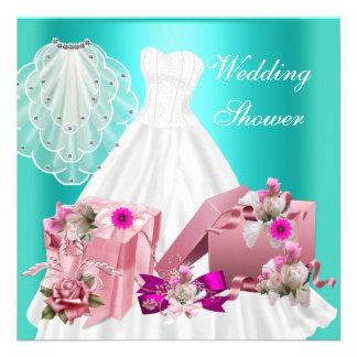 Pinkfarbenes Türkis-Rosa des BrautPolterabend-2 Einladungen