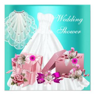 Pinkfarbenes Türkis-Rosa des BrautPolterabend-2 Quadratische 13,3 Cm Einladungskarte