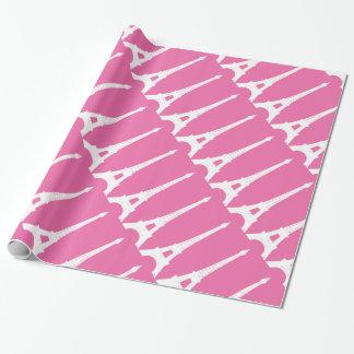 Pinkfarbenes und weißes Paris-Packpapier Geschenkpapier