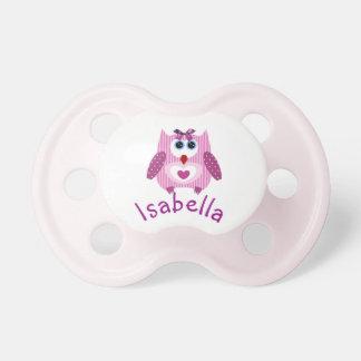 Pinkish lila Eulen-personalisierter Schnuller