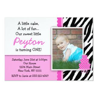 Pinkzebra-Druck-erste Geburtstags-Einladungen 12,7 X 17,8 Cm Einladungskarte