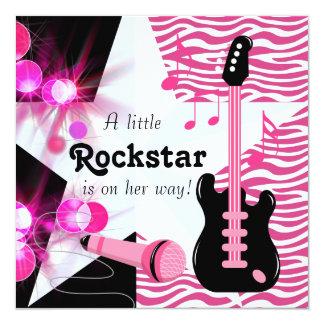 PinkZebra Rockstar Baby-Dusche Quadratische 13,3 Cm Einladungskarte
