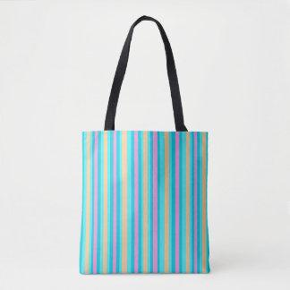 Pinstriped Aqua/Rosa/Gold> gemusterte Tasche