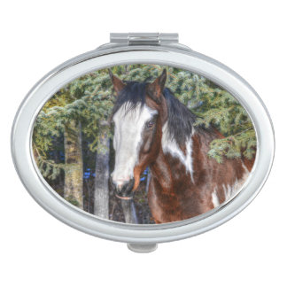 Pinto-Farben-Stallions-u. Immergrün-Bäume Schminkspiegel