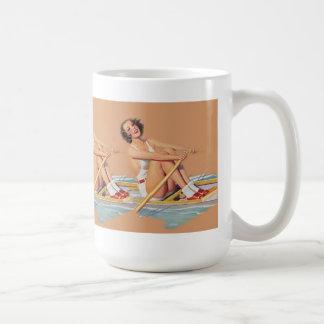 Pinup-Frauenschleiferudersport Kaffeetasse