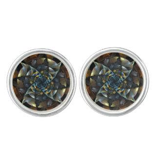 Pinwheel-abstraktes Kunst-Silber überzogen Manschettenknöpfe