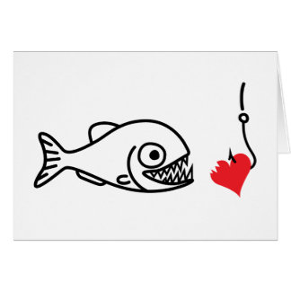 Piranha beißt Herz auf HakenantiValentinstag Karte