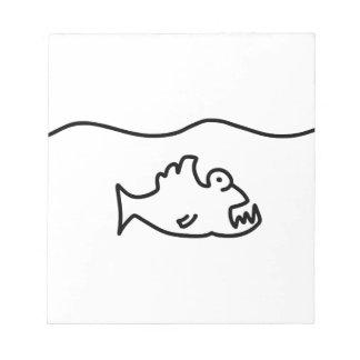 piranha biss fisch zahn notizblock