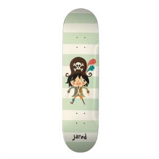 Pirat auf grünen Pastellstreifen Skateboard Bretter