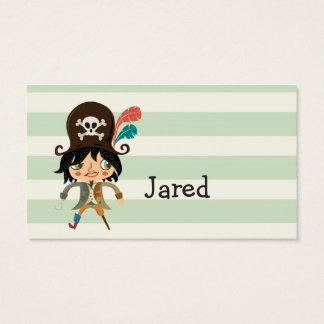 Pirat auf grünen Pastellstreifen Visitenkarten