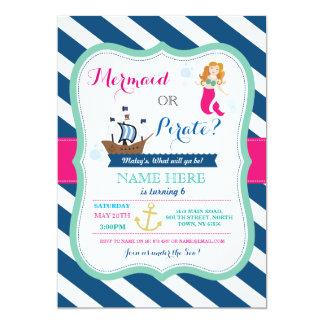 Pirat oder Meerjungfrau, die jedes mögliches 12,7 X 17,8 Cm Einladungskarte