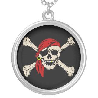 Pirat, Piratenflagge Versilberte Kette