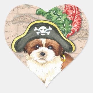 Pirat Shih Tzu Herz-Aufkleber