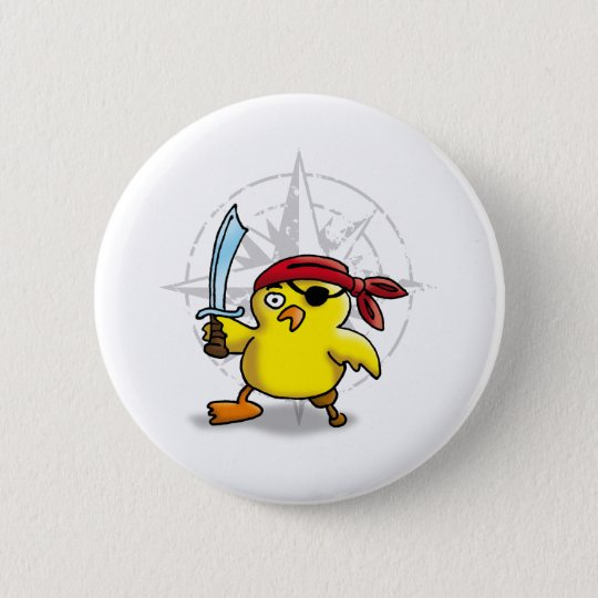 pirate chick runder button 5,1 cm