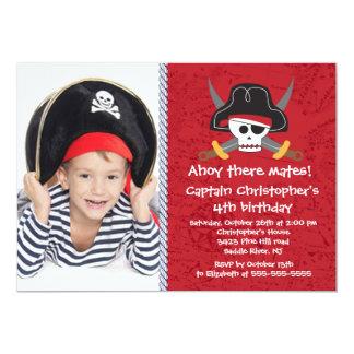 Piraten-ahoi Kamerad-Jungen-Foto-Geburtstags-Party Karte