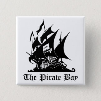 Piraten-Bucht, illegale Strom-Internet-Piraterie Quadratischer Button 5,1 Cm