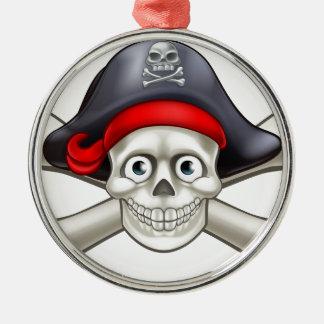 Piraten-Cartoon-Schädel und gekreuzte Knochen Silbernes Ornament