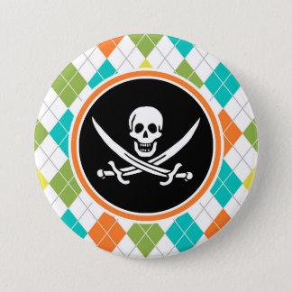 Piraten-Flagge auf buntem Rauten-Muster Runder Button 7,6 Cm