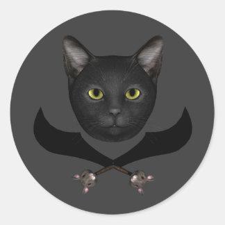 Piraten-Flaggen-Katze Runder Aufkleber