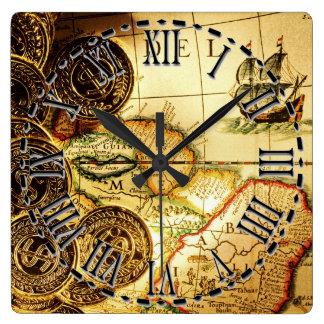 Piraten-Goldschatz-Karten-Wanduhr Quadratische Wanduhr