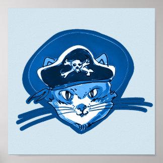 Piraten-Hut-Cartoon des süßen Katzengesichtes Poster