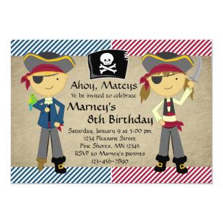 Piraten-Jungen-und Mädchen-Geburtstags-Einladungen Karte