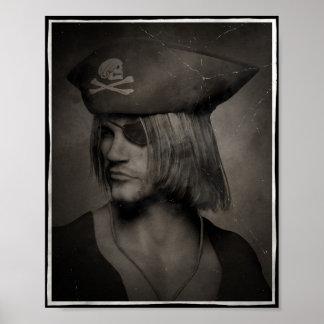Piraten-Kapitän Portrait - antiker Effekt Poster