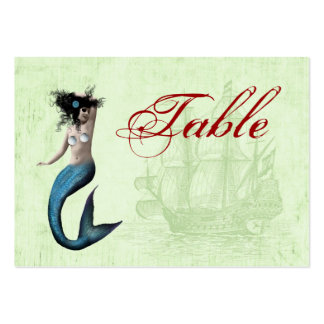 Piraten-Meerjungfrau-Tischnummer-Karten Visitenkarten