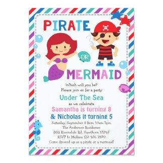 Piraten-oder Meerjungfrau-Einladung, unter dem Karte