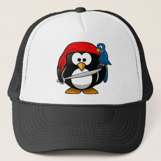 Piraten-Pinguin mit einer roten Bandanna und einem Truckerkappe