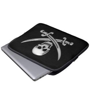 Piraten-Schädel-u. Klinge-gekreuzte Knochen Laptop Sleeve Schutzhülle