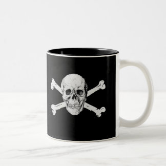 Piraten-Schädel und Knochen-Tasse Zweifarbige Tasse