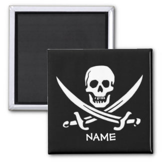 Piraten-Schädel und Schwerter addieren Namen Quadratischer Magnet