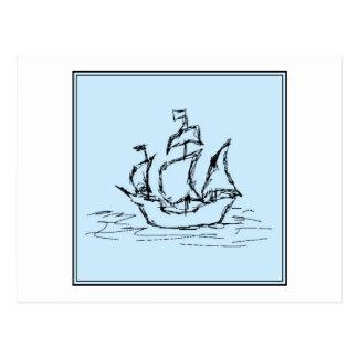 Piraten-Schiff. Auf hellblauem. Postkarte
