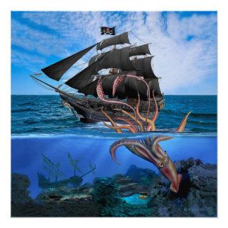 Piraten-Schiff gegen den riesigen Tintenfisch Poster